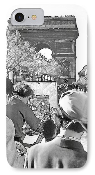 Arc De Triomphe Painter - B W Phone Case by Chuck Staley