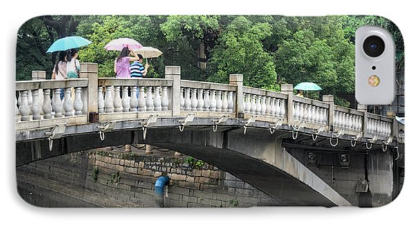 Arched Chinese Bridge With Umbrellas - Shamian Island - Guangzhou - Canton - China Phone Case by David Hill