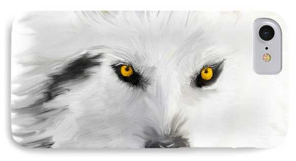 Arctic Wolf With Yellow Eyes Phone Case by Angela A Stanton