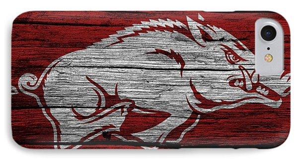 Arkansas Razorbacks On Wood IPhone 7 Case by Dan Sproul