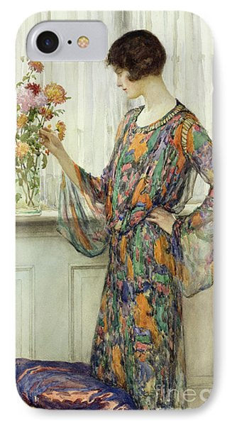 Arranging Flowers IPhone Case by William Henry Margetson