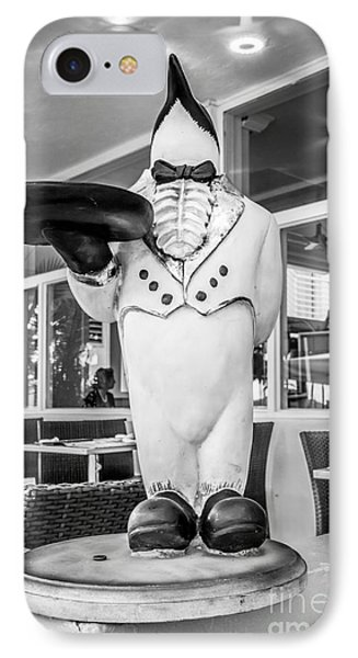 Art Deco Penguin Waiter South Beach Miami - Black And White IPhone Case by Ian Monk