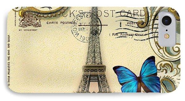 Art Deco Swirls Butterfly Eiffel Tower Paris IPhone Case by Cranberry Sky