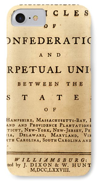 Articles Of Confederation, 1777 IPhone Case by Science Source