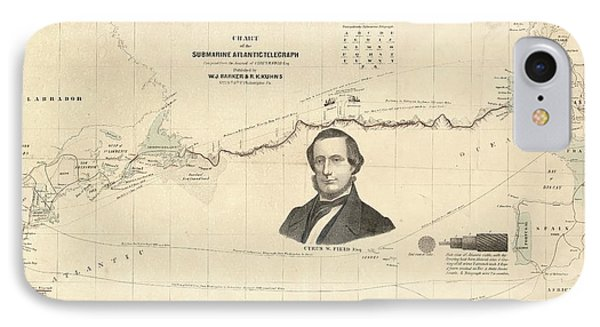 Atlantic Telegraph And Cyrus Field IPhone Case by Library Of Congress, Geography And Map Division