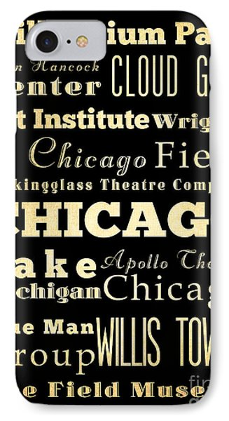 Attractions And Famous Places Of Chicago Illinois IPhone 7 Case by Joy House Studio