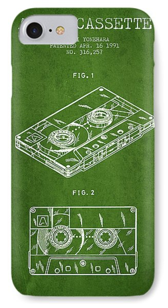 Audio Cassette Patent From 1991 - Green IPhone Case by Aged Pixel