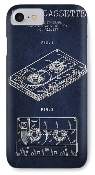 Audio Cassette Patent From 1991 - Navy Blue IPhone Case by Aged Pixel