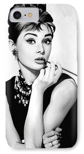 Audrey Hepburn Artwork IPhone Case by Sheraz A