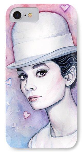 Audrey Hepburn Fashion Watercolor IPhone Case by Olga Shvartsur