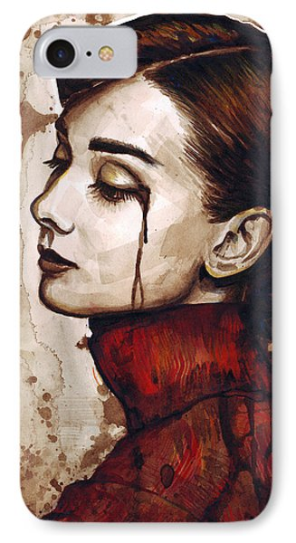 Audrey Hepburn Portrait IPhone Case by Olga Shvartsur