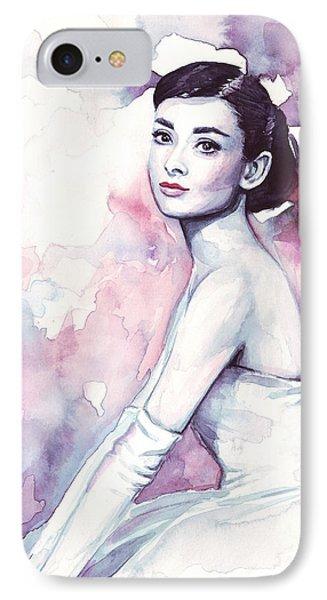 Audrey Hepburn Purple Watercolor Portrait IPhone Case by Olga Shvartsur