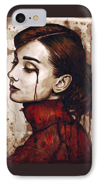 Audrey Hepburn - Quiet Sadness IPhone 7 Case by Olga Shvartsur