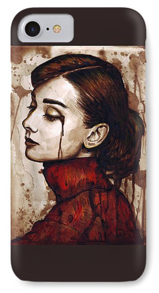 Audrey Hepburn - Quiet Sadness IPhone Case by Olga Shvartsur