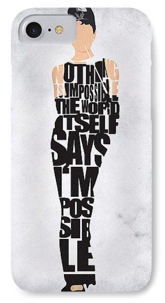 Audrey Hepburn Typography Poster IPhone Case by Ayse Deniz