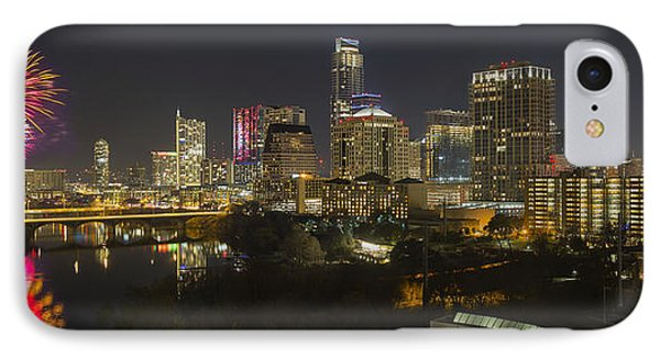 Fireworks And The Austin Skyline On New Year's Eve IPhone Case by Rob Greebon