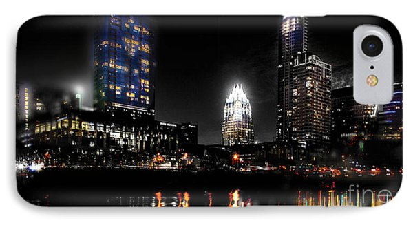 Austin Night Skyline Reflections  IPhone Case by Gary Gibich