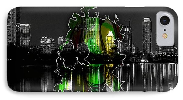 Austin Texas Map And Skyline Watercolor IPhone Case by Marvin Blaine