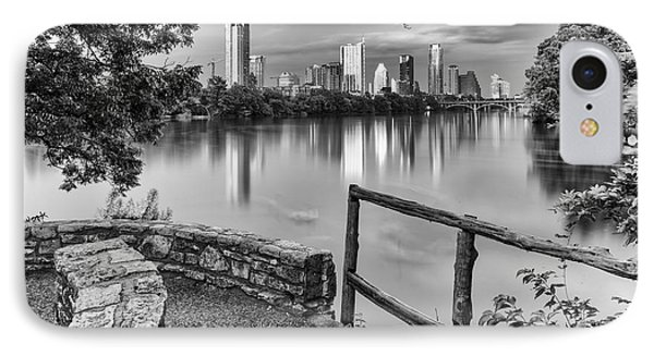 Austin Texas Skyline Lou Neff Point In Black And White IPhone Case by Silvio Ligutti