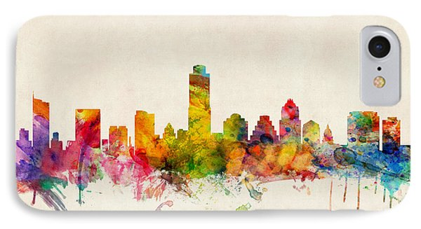 Austin Texas Skyline IPhone Case by Michael Tompsett