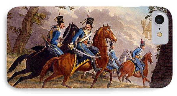 Austrian Hussars In Pursuit Phone Case by Conrad Gessner