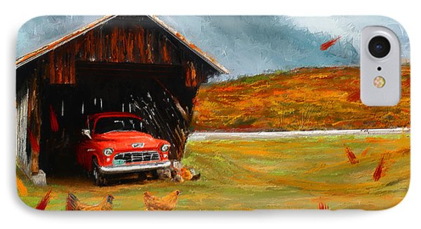 Autumnal Restful View-farm Scene Paintings IPhone Case by Lourry Legarde