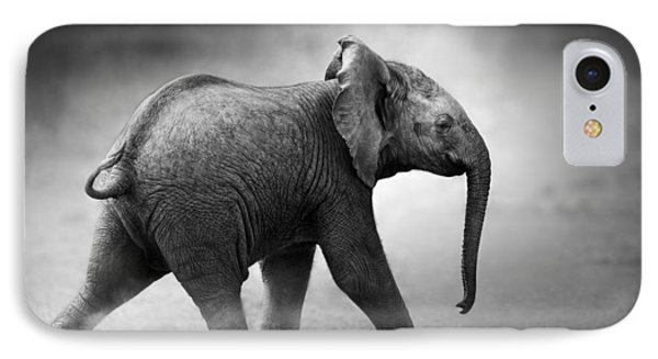 Baby Elephant Running IPhone Case by Johan Swanepoel