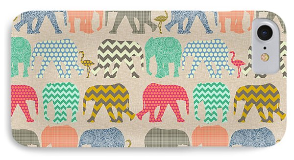 Baby Elephants And Flamingos Linen IPhone Case by Sharon Turner