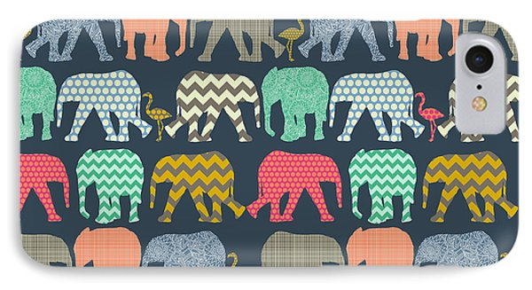 Baby Elephants And Flamingos IPhone Case by Sharon Turner