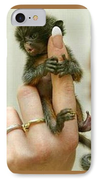 Baby Finger Monkey Tan Border IPhone Case by L Brown