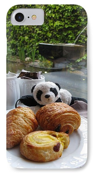Baby Panda And Croissant Rolls Phone Case by Ausra Huntington nee Paulauskaite