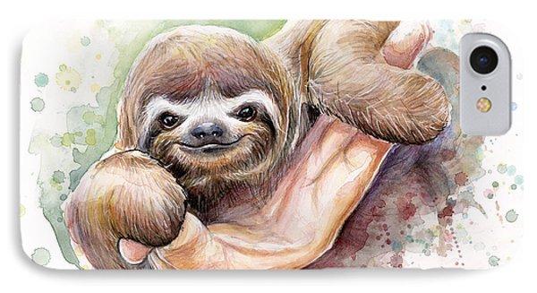 Baby Sloth Watercolor IPhone Case by Olga Shvartsur