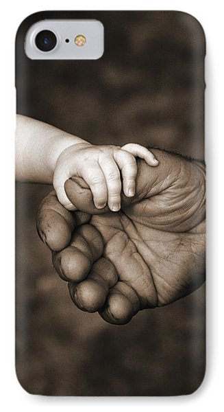 Babys Hand Holding On To Adult Hand IPhone Case by Corey Hochachka
