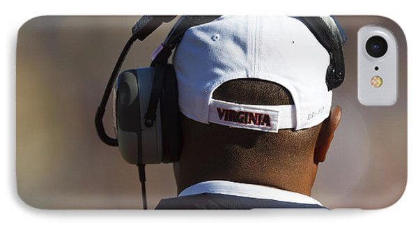 Back Of Mike London Head With Headset Virginia Cavaliers Phone Case by Jason O Watson