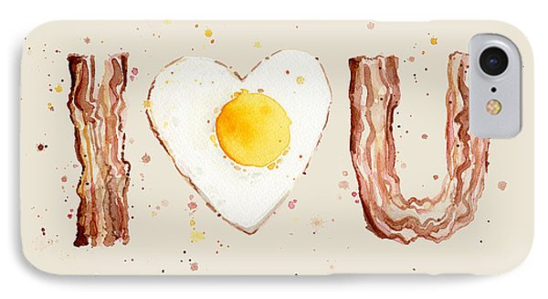 Bacon And Egg I Heart You Watercolor IPhone Case by Olga Shvartsur