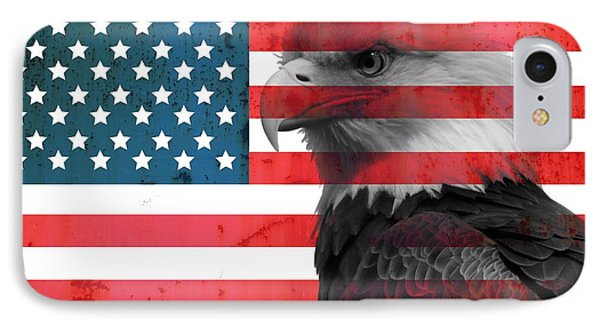 Bald Eagle American Flag IPhone Case by Dan Sproul