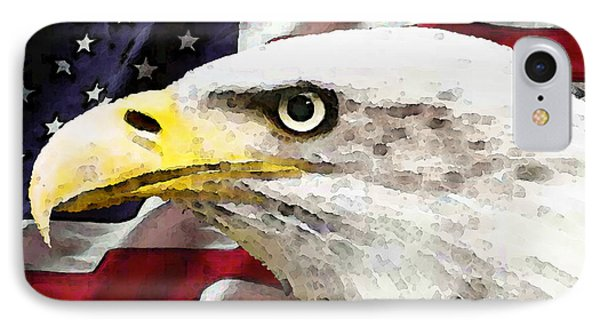 Bald Eagle Art - Old Glory - American Flag IPhone 7 Case by Sharon Cummings