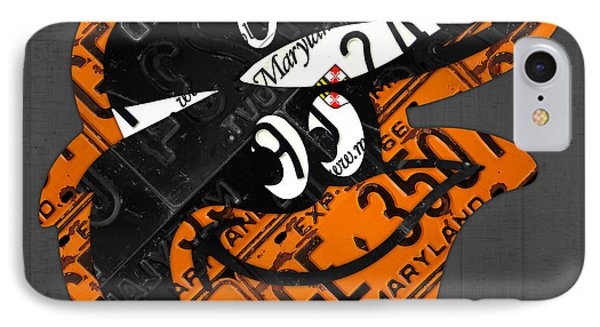 Baltimore Orioles Vintage Baseball Logo License Plate Art IPhone Case by Design Turnpike