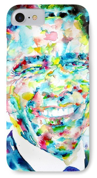 Barack Obama - Watercolor Portrait IPhone 7 Case by Fabrizio Cassetta