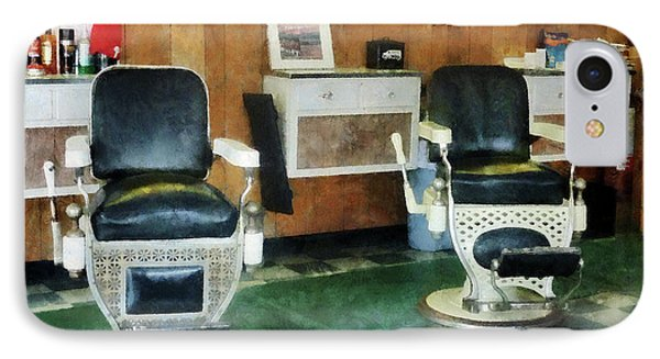 Barber - Corner Barber Shop Two Chairs Phone Case by Susan Savad