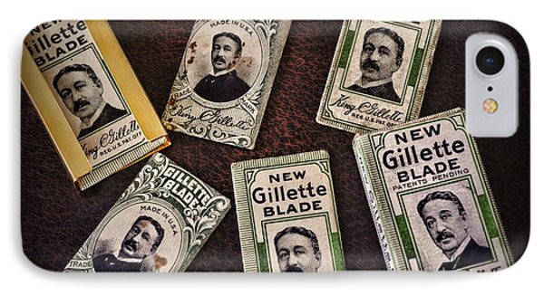 Barber - Vintage Gillette Razor Blades Phone Case by Paul Ward