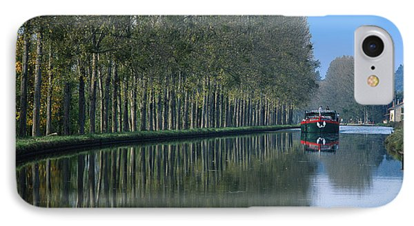 Barge On Burgandy Canal Phone Case by Carl Purcell