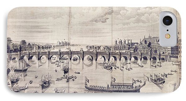 Barges At Westminster Bridge IPhone Case by Library Of Congress