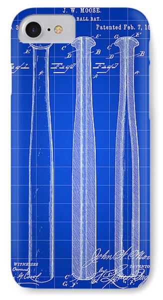 Baseball Bat Patent 1888 - Blue IPhone Case by Stephen Younts