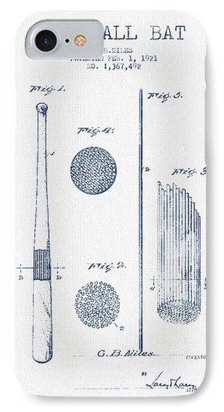 Baseball Bat Patent Drawing From 1921 - Blue Ink IPhone Case by Aged Pixel