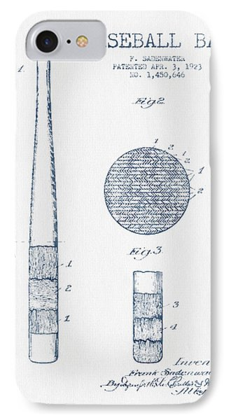 Baseball Bat Patent Drawing From 1923 - Blue Ink IPhone Case by Aged Pixel