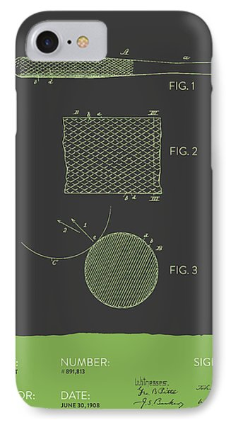 Baseball Bat Patent From 1908 - Gray Green IPhone Case by Aged Pixel