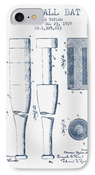 Baseball Bat Patent From 1919 - Blue Ink IPhone 7 Case by Aged Pixel