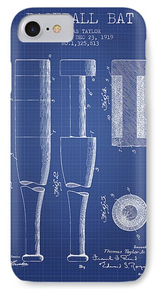 Baseball Bat Patent From 1919 - Blueprint IPhone Case by Aged Pixel
