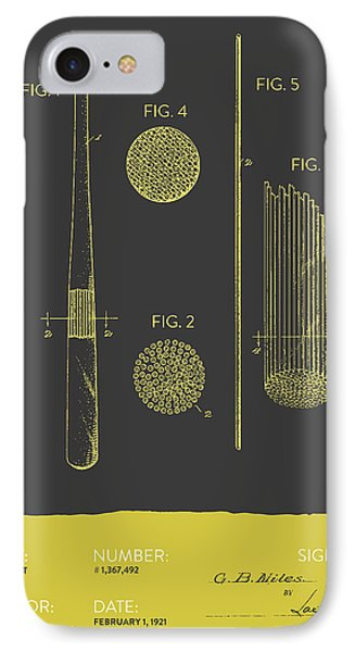 Baseball Bat Patent From 1921 - Gray Yellow IPhone Case by Aged Pixel